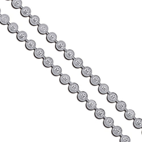 (Stainless Steel Military Ball Bead Chain 3mm Dog Tag Link Pallini Necklace 20