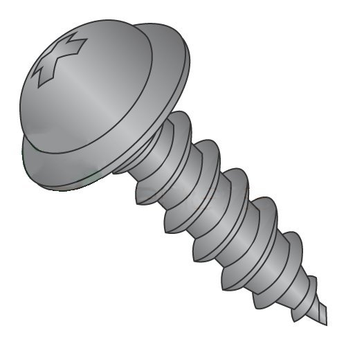 """#12 x 1/2"""" Type A Self-Tapping Screws/Phillips/Round Washer Head/Steel/Black Oxide (Carton: 5,000 pcs) 41P3MNqadjL"""