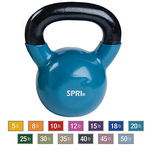 SPRI Kettlebell Weights Deluxe Cast Iron Vinyl Coated Comfort Grip Wide Handle Color Coded Kettlebell Weight Set (Teal, 20-Pound)