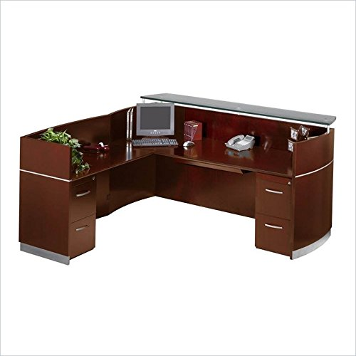 - Safco Products Mayline Napoli Series Reception Station (W/2-F/F), Sierra Cherry Veneer/Frosted Glass