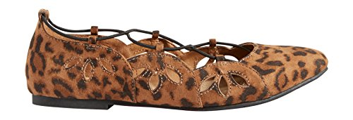 maurices Womens Kim Ballet Flat With Laser Cut Sides and Elastic Animal K695duEqx