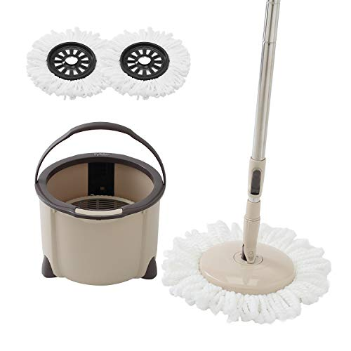 E.yliden Spin Mop Bucket Kit - 360°Hand-free Wringing Spinning Mop with Extended Length Handle&2 Microfiber Mop Heads for Floor Cleaning Rotating- Easy to use and Store