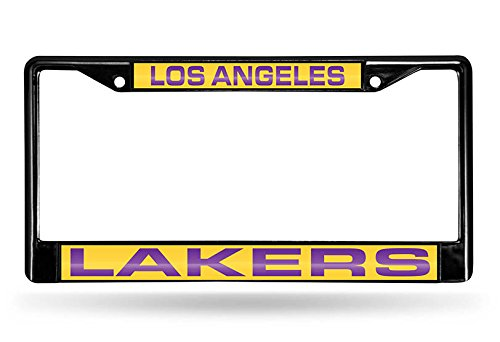 Rico NBA Los Angeles Lakers Laser Cut Inlaid Standard Chrome License Plate Frame, 6'' x 12.25'', Black by Rico