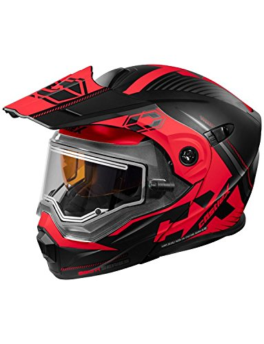 Castle X CX950 Focus Electric Modular Snowmobile Helmet (XLG, Matte Black/Red)