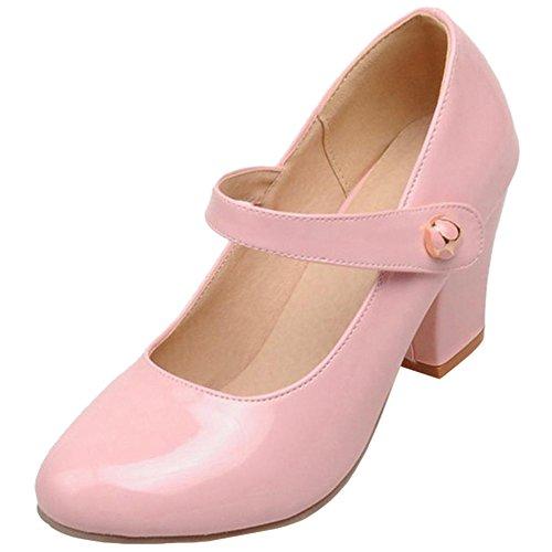 FANIMILA Moda Mujer Tacon Ancho Bombas Zapatos Bout Ferme Correa de tobillo Zapatos Rosado