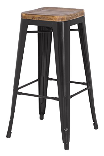 New Pacific Direct Metropolis Metal Backless Bar Stool 30  Wood Seat Indoor Outdoor Ready Black Set Of 4