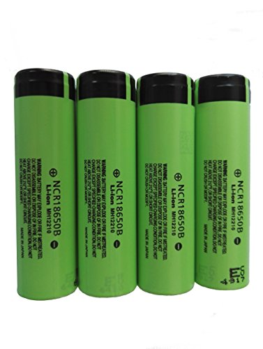 PhotonDynamic Rechargeable Batteries NCR18650B 3400mAh 3.7V Li-ion 18650 Flat Top Battery(4PCS)