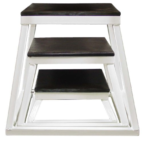Plyometric Platform Box Set- 6'', 12'', 18'' White by Ader Sporting Goods