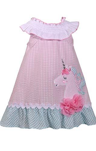 Bonnie Jean Girls Seersucker Unicorn Dress (0m-6x) (4t) Pink