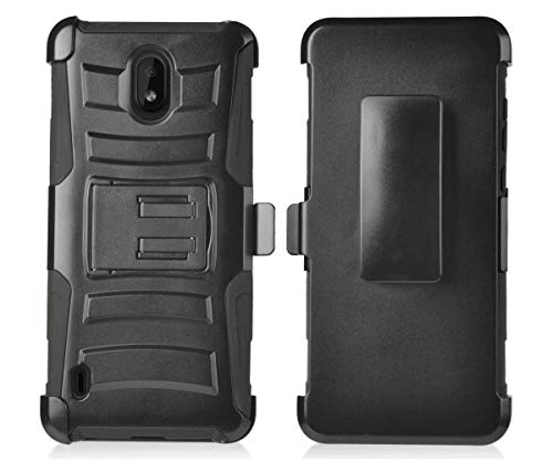 Cbk Pedestal - Bemz Rugged Series Compatible with Nokia 3.1 A, Nokia 3.1 C - Heavy Duty Armor Double Layer Shockproof Rugged Protection Case with Built-in Stand and Rotatable Belt Clip Holster - Black
