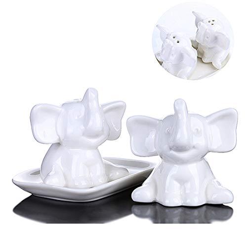 (Salt and Pepper Shaker Set Decor Ceramic Spice Dispenser Set, Fun Novelty Gift (elephant))