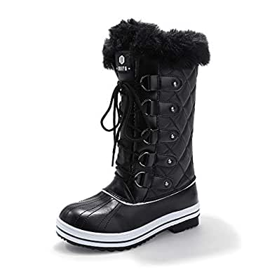 IDIFU Women's Warm Winter Snow Boots Waterproof Anti-Slip Mid-Calf Faux Fur Outdoor Shoes (Mid Black, 5 M US)