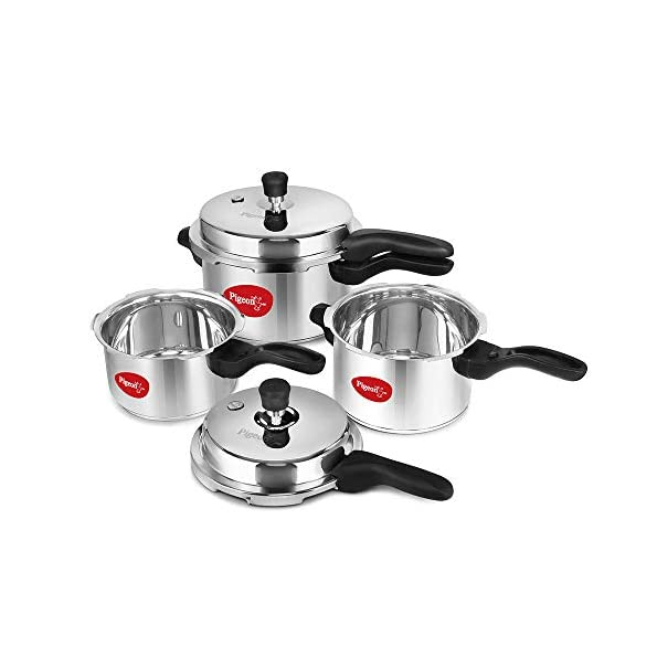 Pigeon-by-Stovekraft-12739-Induction-Base-Outer-Lid-Stainless-Steel-Pressure-Cooker-Combo-With-Lid-2L-3L-5L-Silver
