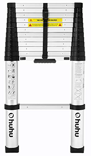 (Ohuhu 12.5 FT Aluminum Telescopic Extension Ladder, ONE-BUTTON RETRACTION New Design Telescoping Ladder, ANSI Certified Extendable Ladder with Spring Loaded Locking Mechanism, 330 Pound)