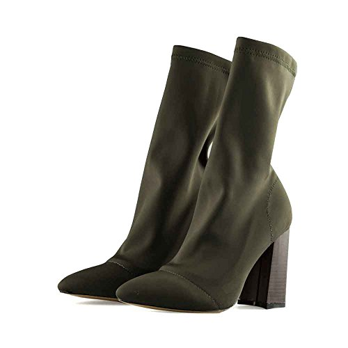 Botas Zapatos DX Punta Elástico Verde LIURUIJIA ejército Altos Grueso 03 Tobillo Mujeres Hilo Tacón F48Fwxp