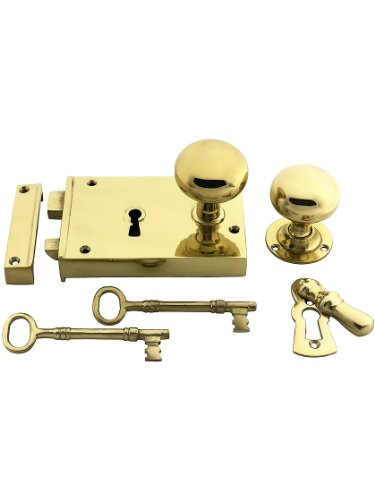 Large Cast Brass Rim Lock Set with Solid Brass Door Knobs and Escutcheons Un-Lacquered Brass Left Handed - Escutcheon Lacquered Brass