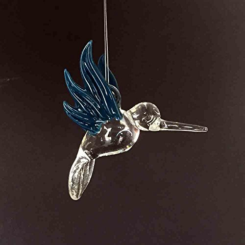 Hand Blown Glass Hanging Hummingbird with Teal Wings Ornament