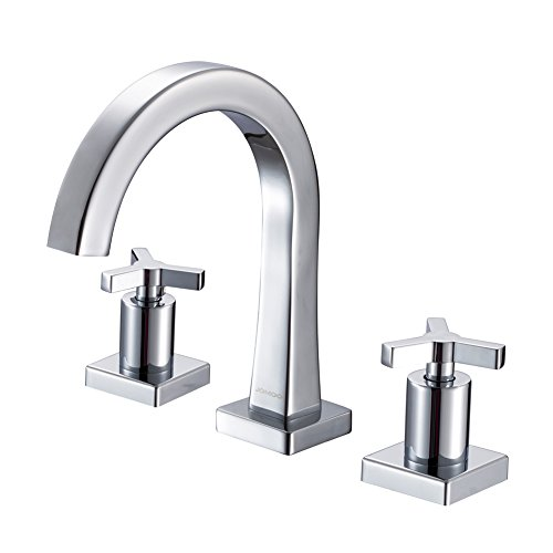 JOMOO 8 Inch Widespread Bathroom Sink Faucet With Cross Handles 3 Holes 2 Handle Kitchen Faucet Chrome Double Lever Hot and Cold Basin Mixer Water (Two Handle Widespread Faucet)