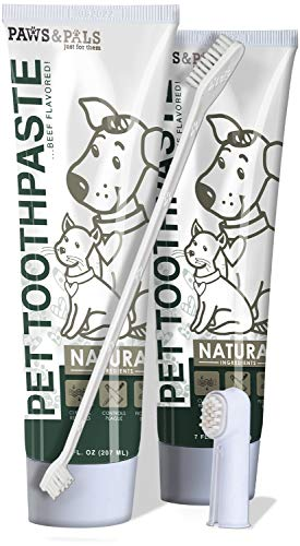 Dog Toothbrush and Toothpaste for Dogs Teeth Cleaning (Pack of 2) Cet Enzymatic Pet Tooth Paste & Dual Finger Brush for Cat Kitten Doggie Doggy Puppy Dental Care Kit - Beef Flavor 7oz Per Tube