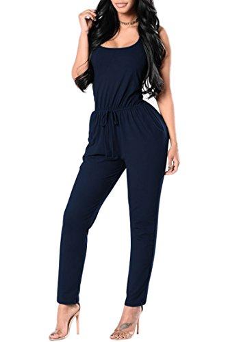 Pink Queen Women's Sexy Low Cut Sleeveless Cross Back Long Pants Cotton Jumpsuit (L, Navy Blue)