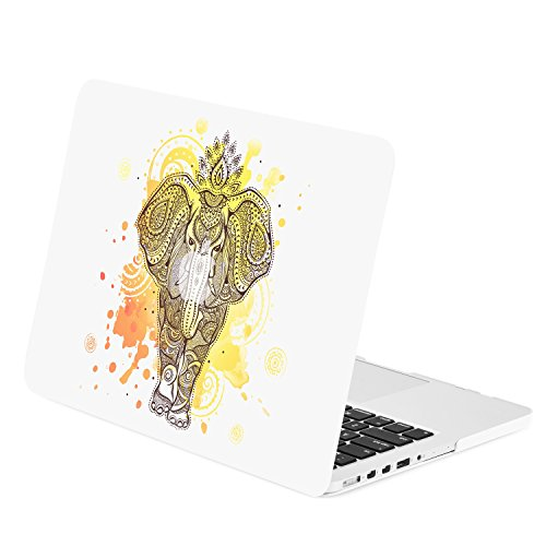 TOP CASE - Mehndi Elephant Graphics Rubberized Hard Case Cover Compatible with Apple MacBook Pro 13