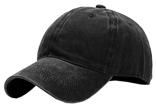 Boys Toddler Denim Black - Kids Baseball-Hat Washed Solid - Sun Hat for Children (2-7yrs, Black)