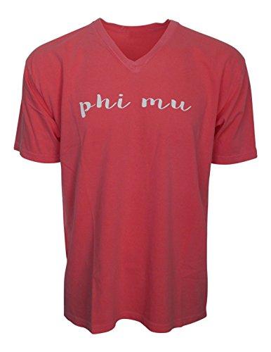 (Mega Greek Womens Phi Mu V-Neck T-shirt X-Large Watermelon)