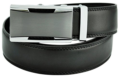 Hampton Leather Belt with Innovative Classics Collection Triumph Ratchet Belt Buckle - One Size Fit, Jet Black