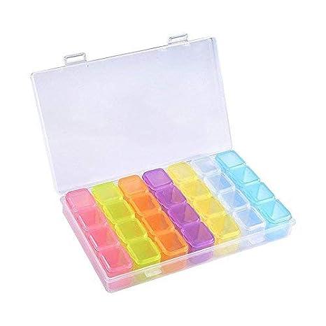 Caja de 28 cuadrículas de colores Pawaca, para bordado de diamantes, para manualidades, 10,9 x 17 cm: Amazon.es: Hogar