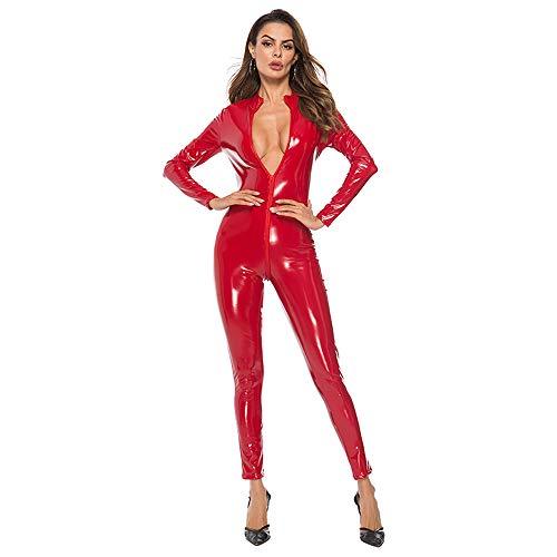 Sanyalei Women's Sexy PU Faux Wet Look Zipper Front Leather Catsuit Teddy Clubwear (Red, XXXL) ()