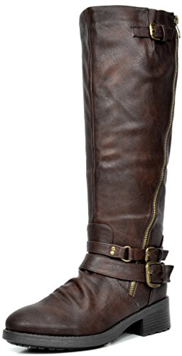 DREAM PAIRS Women's Side Zipper Faux Fur Lining Riding Boots (Wide Calf Available)