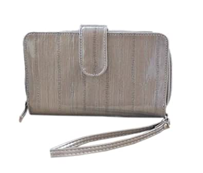 Beige Organizer Wristlet Wallet for Women - Faux Eel Skin - Large Enough to Hold Phone
