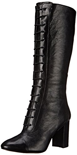 Nine West Women's Waterfall Leather Lace up Ankle Boot, Black, 6.5 M US