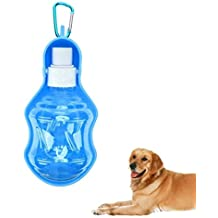 Leagway 250ml Portable Dog Water Bottle, Pet Drink Bowl for Small to Large Dog Cat - Compact Travel Water Dispenser Foldable Tray Bowl Drinking Feeder for Small Animals with Hanging Carabiner (Blue)
