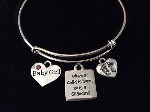 When A Child Is Born So Is A Grandma Expandable Charm Bracelet Baby Girl or Boy Silver Adjustable Bangle Grandmother New Baby Gift Baby Feet Pink or Blue Rhinestone