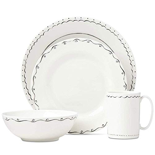Kate Spade New York Union Square Doodle Dinnerware 4-Piece Place Setting New by Lenox ()