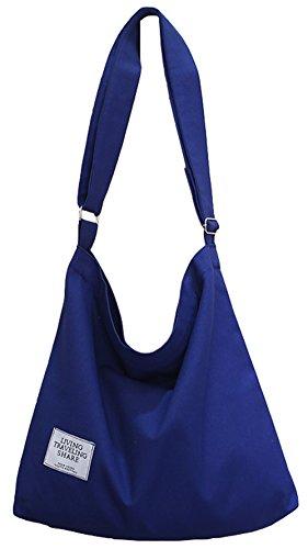(Covelin Women's Retro Large Size Canvas Shoulder Bag Hobo Crossbody Handbag Casual Tote)