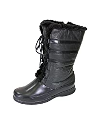 FIC PEERAGE Joan Women Wide Width Leather Lace and Zip Mid Calf Boot (Size & Measurement Guide Available)