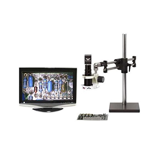 ESD-Safe Macro Zoom Analog Video Inspection System with Dual Arm Base, Dimmable LED Ring Light and 19″ HD LCD Monitor