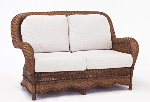 South Sea Rattan Autumn Morning Loveseat in Walnut Finish, Sachi Pool