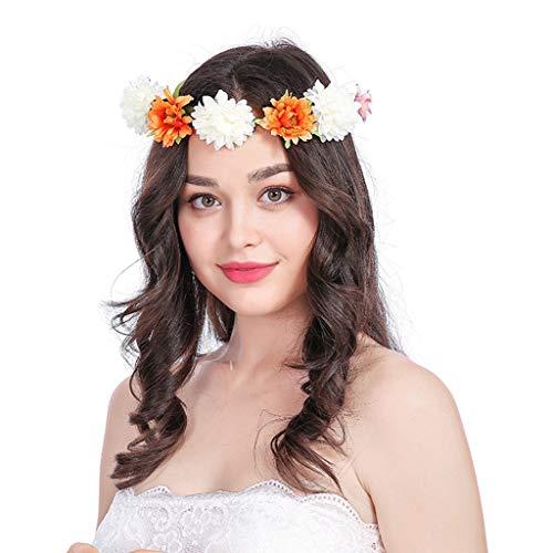 Floral Hairband for Womens Boho Flower Festival Wedding Garland Hair Head Band Beach Party (E)