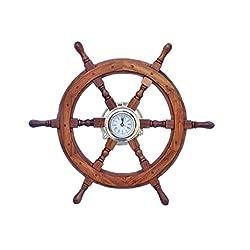 Winmaarc Wooden Handmade Deluxe Class Black Wood and Brass Pirate Ship Wheel Clock 24