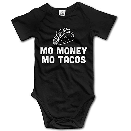 Dream-R Mo Money Mo Tacos Newborn Babys Boy's & Girl's Short Sleeve Romper Bodysuit Outfits For 0-24 Months Black Size 3M
