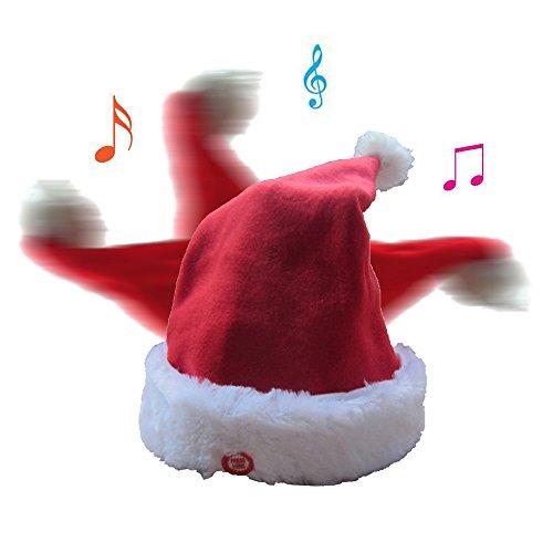 5da9555daa279 QIUYEJUO Plush Musical Christmas Santa Hat Merry Christmas Hat Party ...