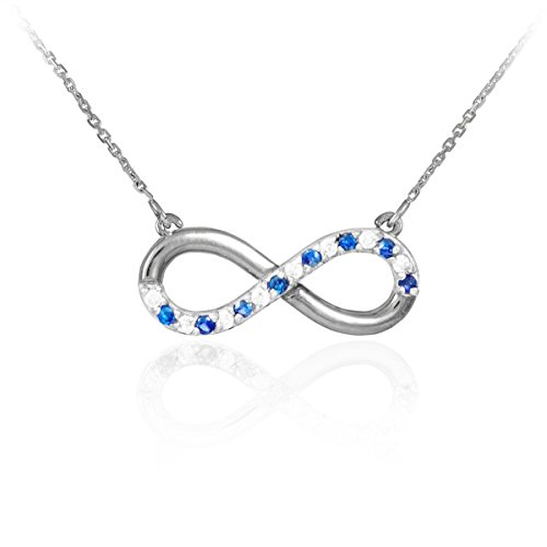 Infinity Pendant 14k White Gold Clear Blue CZ Accents Necklace
