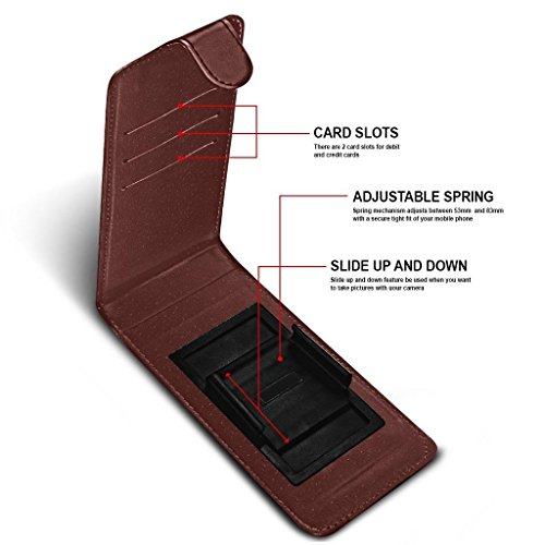 ( Orange) Handytasche fŸr Ulefone Gemini Pro HŸlle HandyhŸlle pouch DŸnn Kunstleder,r Spring Clamp Adjustable Flip HŸlle HandyhŸlle Skin with Credit/Debit Ulefone Gemini Pro HŸllewith TEMPERED GLASS S Clip on Flips+ GLASS 5.5 inch (Brown)