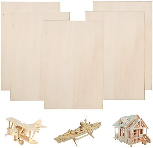 Guyuca 10pcs Balsa Wood Sheets 450x300x2mm Thin Plywood Sheets Board for DIY Crafts Wooden Mini House Boat Airplane Model