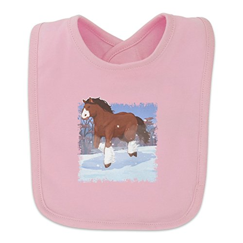 Clydesdale Horse Running in Snow Baby Bib - Pink