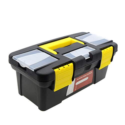 - Saim Light-duty Toolbox Portable Plastic Hand Tool Box with One Main Compartment and Small Storage in Lid