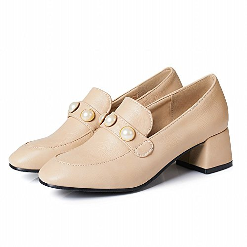 Mee Shoes Damen Chunky Heels mit Perlen Loafers Nackt-Farbe